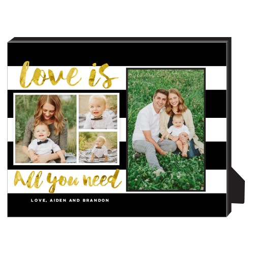 Love Stripes Personalized Frame, - No photo insert, 8 x 10 Personalized Frame, Black