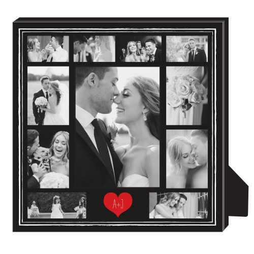 Heart Initials Border Collage Personalized Frame, - No photo insert, 11.5 x 11.5 Personalized ...