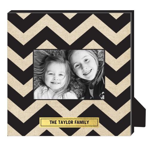 Chevron Frame Personalized Frame, - No photo insert, 11.5 x 11.5 Personalized Frame, Black
