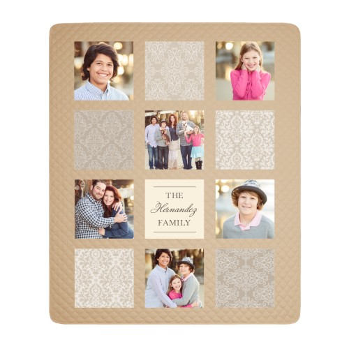 Pattern Collage Photo Quilt, Taupe, Beige