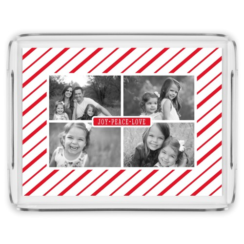 Festive Diagonal Stripe Serving Tray