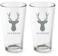 deer silhouette pint glass