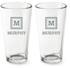 framed monogram series pint glass