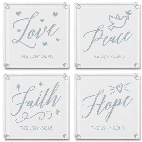 Faith Love Peace Glass Coaster, Set of 4, White