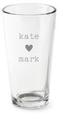 perfect pair heart pint glass