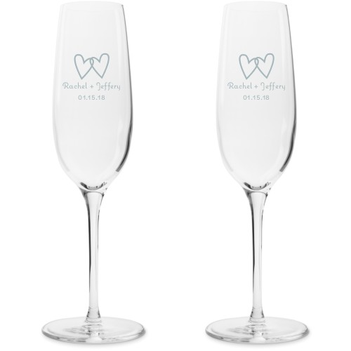 Two Hearts Champagne Flutes, Set of 2, White