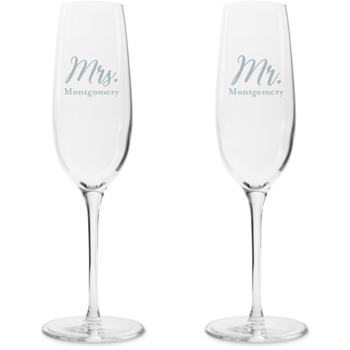 Mr and Mrs Champagne Flutes, Set of 2, White
