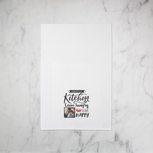 Happy Kitchen Tea Towel, Set of 1, Black