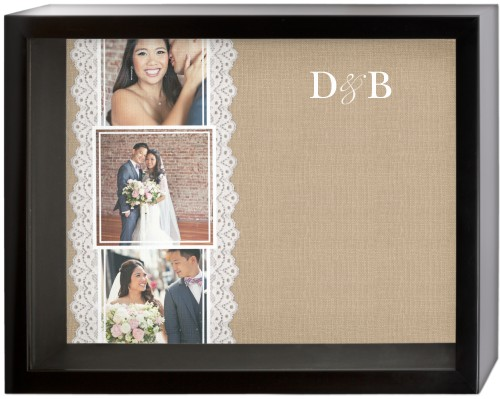 Lace and Burlap Shadow Box, Black, 11 x 14 inches, Beige