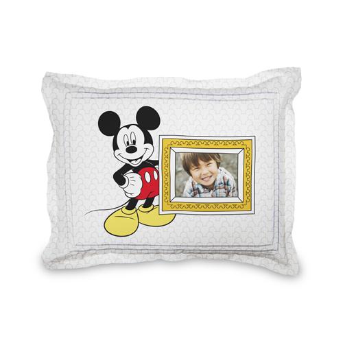 Disney Mickey Mouse Sham, Sham, Sham w/ Taupe Ticking Stripe Back, Standard, White