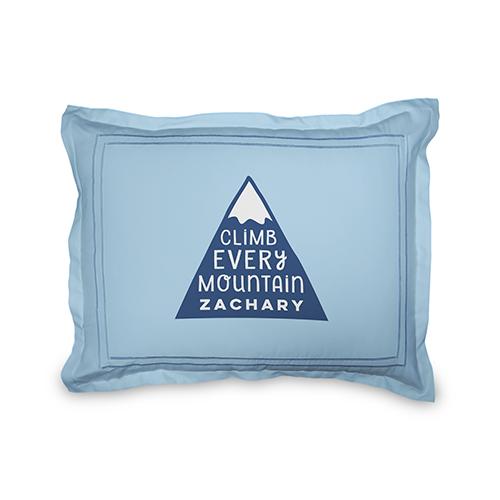 Adventure Mountain Sham, Sham, Sham w/ Grey Damask Back, Standard, Blue