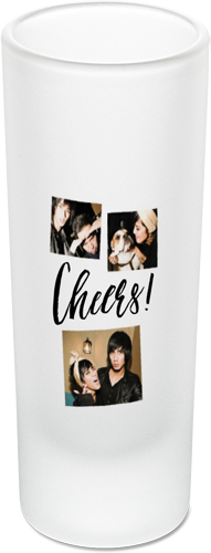 Cheers Collage Shot Glass, Black