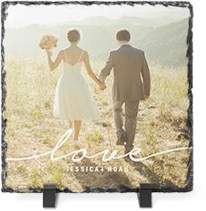 modern scripted love slate plaque