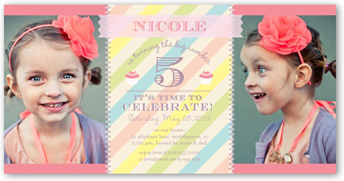 Cupcakes And Stripes Birthday Invitation, Square Corners