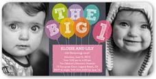 big one balloons twin birthday invitation 4x8 flat