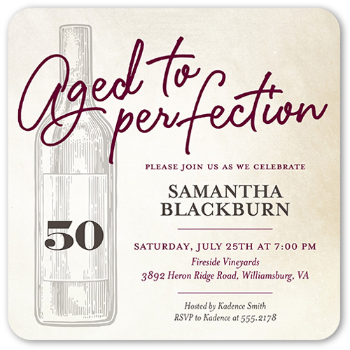Aged Perfection Birthday Invitation, Rounded Corners