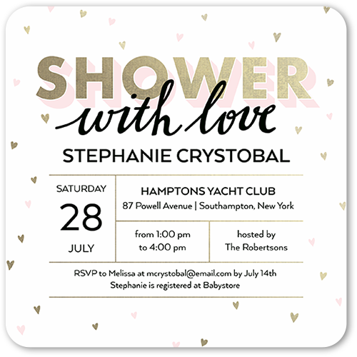 Falling Hearts Grid Baby Shower Invitation, Rounded Corners