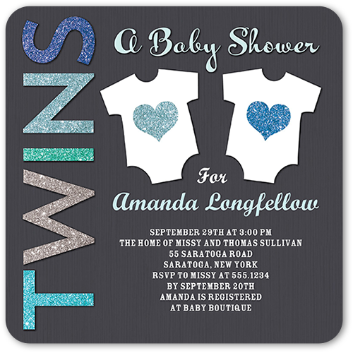 Arrival For Two Boy Baby Shower Invitation, Rounded Corners