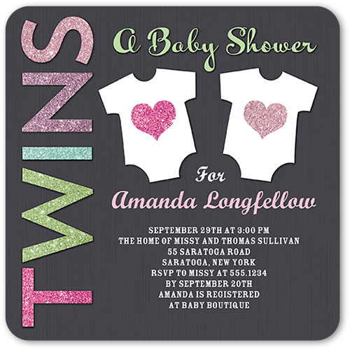 Arrival For Two Girl Baby Shower Invitation, Rounded Corners