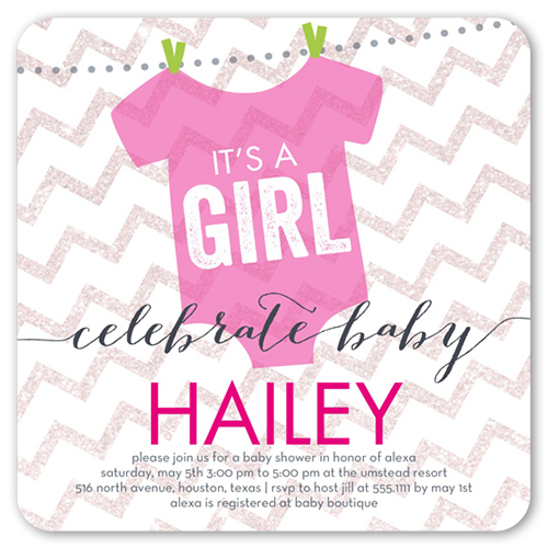 it's a girl chevron x flat card  baby shower invitations, Baby shower invitation