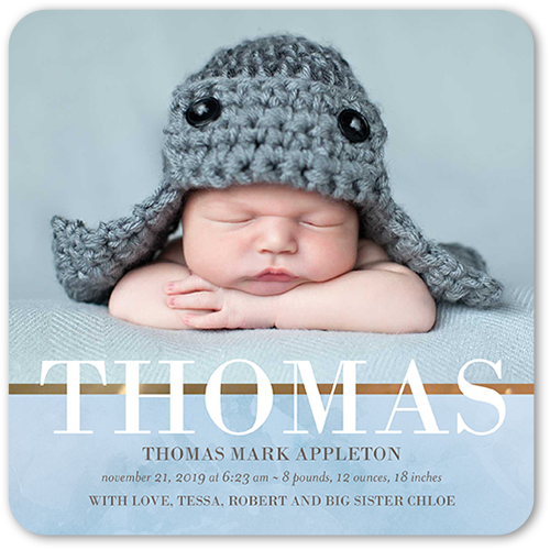 Clouded With Love Boy Birth Announcement, Rounded Corners