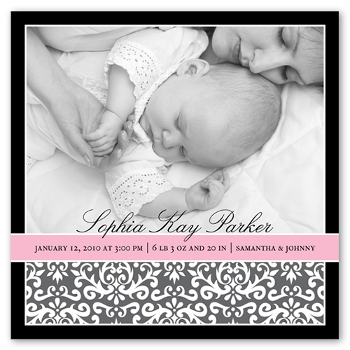 Pretty Pink Ribbon Birth Announcement