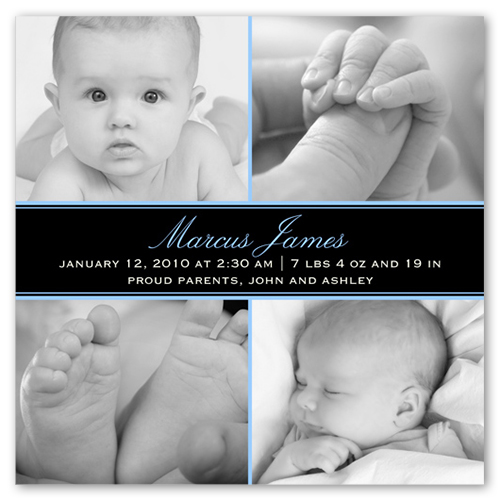 Square Blue Collage Birth Announcement
