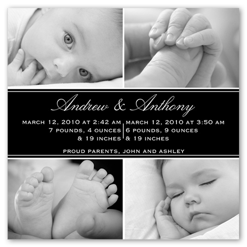 Square Noir Collage Birth Announcement