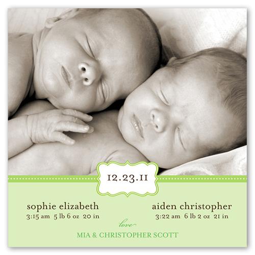Love Cloud Green Birth Announcement, Square Corners