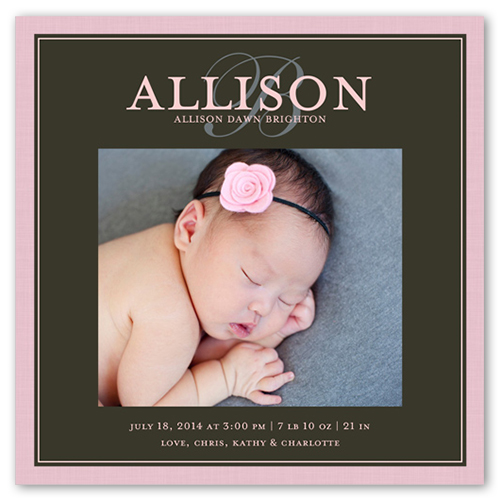 Modern Script Girl Birth Announcement, Square Corners