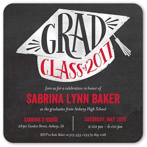 Grad Cap Graduation Invitation, Rounded Corners