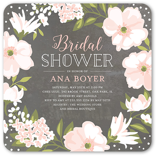 beautiful bouquet 5x5 stationery bridal shower invitations, Wedding invitations
