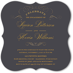 glistening romance engagement party invitation