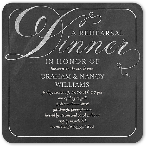 Dapper Dining Rehearsal Dinner Invitation, Rounded Corners