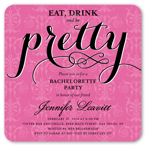 Pretty Party 5x5 Flat Card – Invitation Bachelorette Party