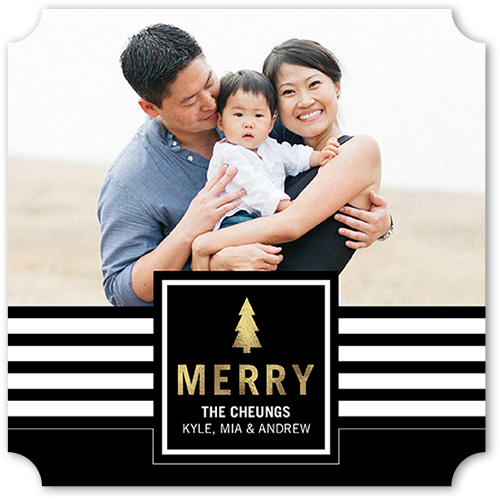 Modern Striped Banner Christmas Card, Ticket Corners