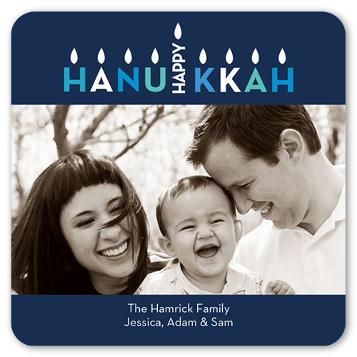 Eight Bright Nights Hanukkah Card, Rounded Corners