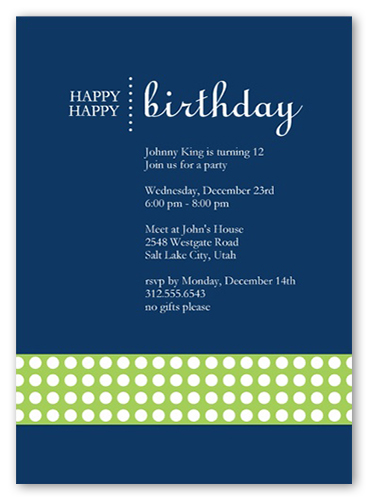 Happy Blue Party Invitation