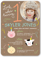 little party animals birthday invitation 5x7 flat