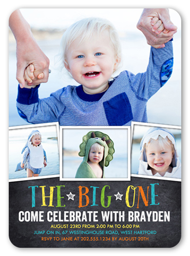 Chalkboard celebration 5x7 boy 1st birthday invitations shutterfly 1st birthday invitations chalkboard celebration boy birthday invitation visible part transiotion part front stopboris