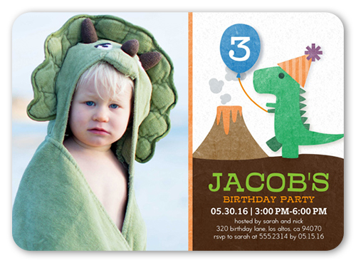 Party Dinosaur  Birthday Invitation, Rounded Corners