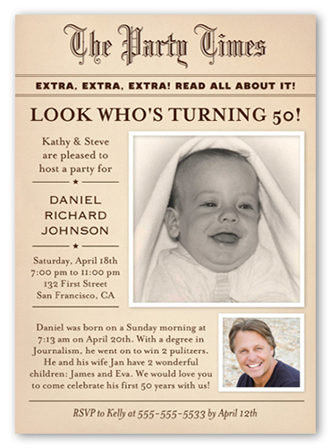 Newsworthy Party Surprise Birthday Invitation
