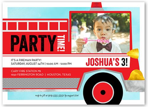 Fire Truck Fun 5x7 Flat Card Boy Birthday Invitations Shutterfly