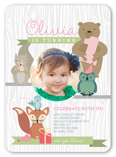 Forest Friends Birthday Invitation, Square