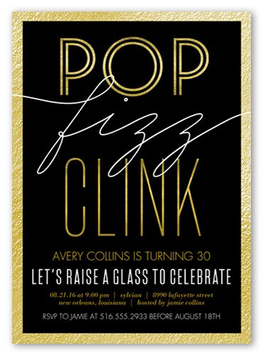 Pop Fizz Clink Birthday Invitation