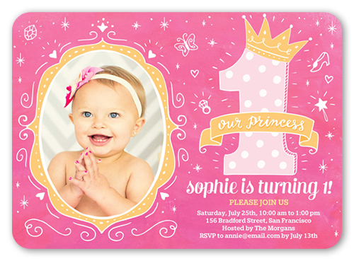 Princess Doodles Birthday Invitation, Square