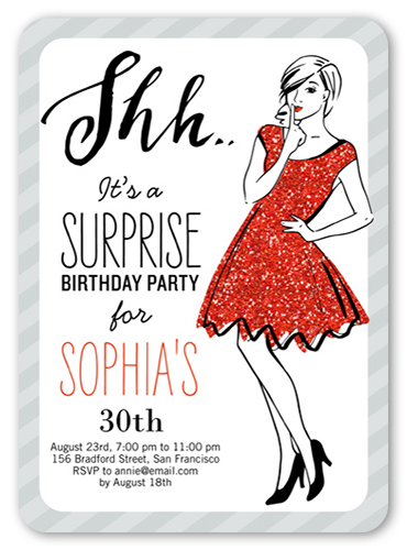 Shh It's A Surprise Birthday Invitation, Rounded Corners