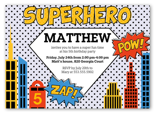 Superhero Birthday Invitation, Square Corners
