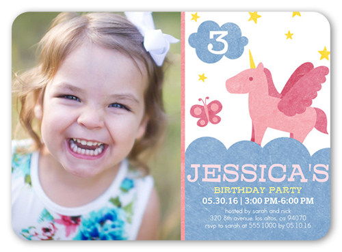 Pretty Unicorn Birthday Invitation, Rounded Corners