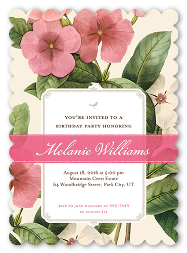Lovely Garden Birthday Invitation, Scallop Corners